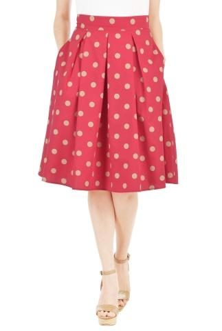 Polka Dot Cotton Poplin Skirt
